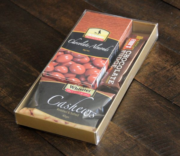 Gold box chocolate almonds cashews chocolate fudge bar