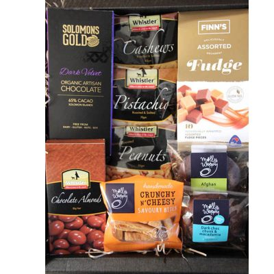 The-Muster-black-gift-box-large-snack-food-hamper-inside-view-Whistler-Foods-product pic
